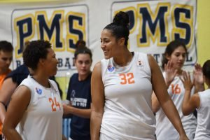 Taya Reimer, right, and Kahlia Lawrence, share a laugh before a game. Photo by Belen Sivori.