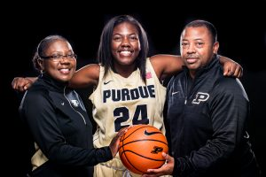 Ajah Stallings and her mother, Reatha Mayfield-Stallings and father, Wade Stallings. Photo courtesy of Purdue Athletics.