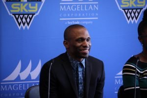 James Wade is introduced as the Chicago Sky's new coach and general manager. Photo courtesy of Chicago Sky.
