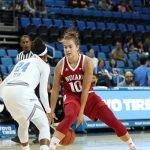 Aleksa Gulbe keeps the ball away from Japreece Dean. Photo by Maria Noble/WomensHoopsWorld.