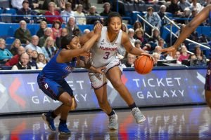 Megan Walker withstands tough defense. Photo courtesy of UConn Athletics.