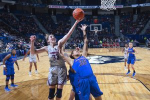 Katie Lou Samuelson drives to score. Photo courtesy of UConn Athletics.