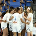 UCLA huddles up. Maria Noble/WomensHoopsWorld.
