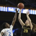 Sabrina Ionescu is defended by Michaela Onyenwere. Maria Noble/WomensHoopsWorld.