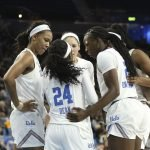 UCLA huddles in the third quarter. Maria Noble/WomensHoopsWorld.