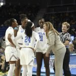 UCLA huddles in the game's final minutes. Maria Noble/WomensHoopsWorld.