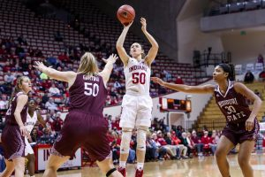 Brenna Wise elevates for a shot. Photo courtesy of Indiana Athletics.