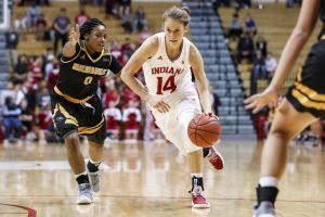 Ali Patberg drives into the paint. Photo courtesy of Indiana Athletics.