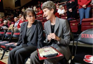 Tara VanDerveer and Amy Tucker confer before a game. AP Photo/Marcio Jose Sanchez.