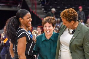 Niele Ivey and Carol Owens have coached with Muffet McGraw for combined total of 31 years. Photo courtesy of Notre Dame Athletics.
