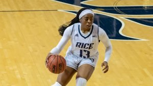 Junior Erica Ogwumike runs the ball up court. Photo by Maria Lysaker/Rice Athletics.