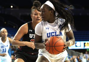 Michaela Onyenwere spins as she readies to score 2 of her 29 points on the night. Maria Noble/WomensHoopsWorld.