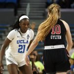 Michaela Onyenwere guards Dru Gylten. Maria Noble/WomensHoopsWorld.