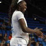 Michaela Onyenwere celebrates a successful play. Maria Noble/WomensHoopsWorld.