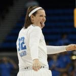 Senior Chrissy Baird is happy as time runs out. Maria Noble/WomensHoopsWorld.