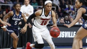 Asia Durr breaks through the Connecticut defense. Photo courtesy of Louisville Athletics.