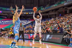 Arike Ogunbowale became Notre Dame's all-time scoring leader at the end of the regular season. Photo courtesy of Notre Dame Athletics.