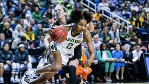Didi Richards filled up the stat sheet and outran the Hawkeyes with her aggressive play. Photo courtesy of Baylor Athletics.