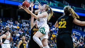 Lauren Cox led Baylor with 22 points and 11 rebounds in their win over Iowa. Photo courtesy of Baylor Athletics.