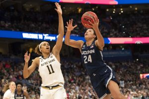 Brianna Turner defends Napheesa Collier. Photo courtesy of Connecticut Athletics.