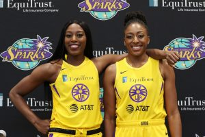 Tuesday, May 14, 2019 - Chiney Ogwumike (L) and Nneka Ogwumike attend the Los Angeles Sparks Media Day in Los Angeles, California. (Maria Noble/BNP Paribas Open).