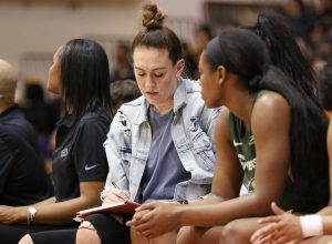 Friday, May 17, 2019 - Breanna Stewart takes notes on the Storm bench. Maria Noble/WomensHoopsWorld.
