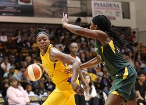 Friday, May 17, 2019 - Nneka Ogwumike is guarded by Crystal Langhorne. Maria Noble/WomensHoopsWorld.