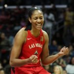A'ja Wilson celebrates a basket. Maria Noble/WomensHoopsWorld.