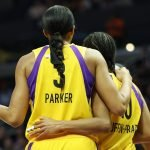 Candace Parker and Tierra Ruffin-Pratt converse. Maria Noble/WomensHoopsWorld.