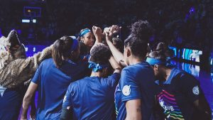 The Lynx huddle before tipoff. Photo courtesy of Minnesota Lynx.