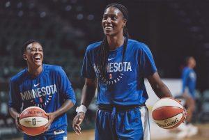 Sylvia Fowles shares a laugh with Danielle Robinson. Photo courtesy of Minnesota Lynx.