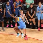 Friday, July 26, 2019 - Diamond DeShields celebrates with teammate Courtney Vandersloot during the WNBA All-Star Weekend at Mandalay Bay in Las Vegas, NV. (Maria Noble)