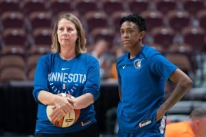 Minnesota Lynx coach Cheryl Reeve and Danielle Robinson talk before a game. Chris Poss photo.