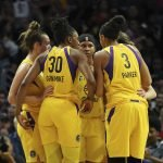 Sparks huddle. Maria Noble/WomensHoopsWorld