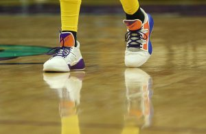 "Candace Parker chose the color scheme for her custom-designed ""Fierce"" shoes symbolically. (Maria Noble)"