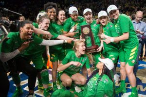 The Oregon Ducks celebrate winning the Portland regional last March. Troy Wayrynen, USA TODAY Sports.