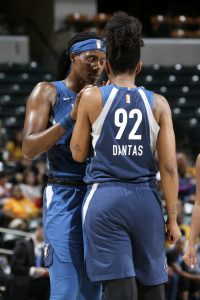 Sylvia Fowles has a word with Damiris Dantas at a game earlier this month. Photo by Ron Hoskins/NBAE via Getty Images.