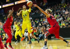 Jordin Canada goes up for a tough shot against the Washington Mystics. Neil Enns/Storm photos.