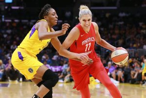 WNBPA executive committee president Nneka Ogwumike guards vice president Elena Delle Donne in a game last season. NBAE via Getty Images photo.