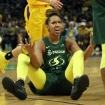 Sunday, September 15, 2019 - The Los Angeles Sparks in action against the Seattle Storm in the 2nd round of the 2019 WNBA Playoffs at Staples Center in Los Angeles, California. (Maria Noble)