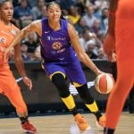 Los Angeles Sparks forward Candace Parker (3) during the WNBA Semi-Finals between the Los Angeles Sparks and the Connecticut Sun at Mohegan Sun Arena, Uncasville, Connecticut, USA on September 17, 2019. Photo Credit: Chris Poss