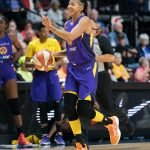 Los Angeles Sparks forward Candace Parker (3) brings the ball up the court during the WNBA Semi-Finals between the Los Angeles Sparks and the Connecticut Sun at Mohegan Sun Arena, Uncasville, Connecticut, USA on September 17, 2019. Photo Credit: Chris Poss