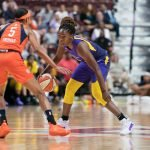 Los Angeles Sparks guard Chelsea Gray (12) during the WNBA Semi-Finals between the Los Angeles Sparks and the Connecticut Sun at Mohegan Sun Arena, Uncasville, Connecticut, USA on September 17, 2019. Photo Credit: Chris Poss