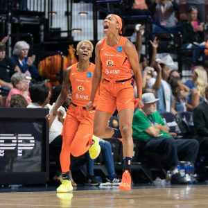 Connecticut Sun guard Courtney Williams (10) and Connecticut Sun guard Jasmine Thomas (5) during the WNBA Semi-Finals between the Los Angeles Sparks and the Connecticut Sun at Mohegan Sun Arena, Uncasville, Connecticut, USA on September 17, 2019. Photo Credit: Chris Poss