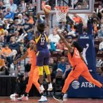 Los Angeles Sparks guard Chelsea Gray (12) shoots during the WNBA Semi-Finals between the Los Angeles Sparks and the Connecticut Sun at Mohegan Sun Arena, Uncasville, Connecticut, USA on September 17, 2019. Photo Credit: Chris Poss