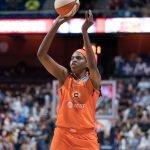 Connecticut Sun center Jonquel Jones (35) shoots during the WNBA Semi-Finals between the Los Angeles Sparks and the Connecticut Sun at Mohegan Sun Arena, Uncasville, Connecticut, USA on September 17, 2019. Photo Credit: Chris Poss