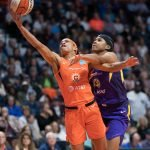 Connecticut Sun guard Jasmine Thomas (5) shoots during the WNBA Semi-Finals between the Los Angeles Sparks and the Connecticut Sun at Mohegan Sun Arena, Uncasville, Connecticut, USA on September 17, 2019. Photo Credit: Chris Poss
