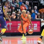 Connecticut Sun guard Courtney Williams (10) during the WNBA Semi-Finals between the Los Angeles Sparks and the Connecticut Sun at Mohegan Sun Arena, Uncasville, Connecticut, USA on September 17, 2019. Photo Credit: Chris Poss
