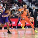Connecticut Sun guard Courtney Williams (10) drives to the basket during the WNBA Semi-Finals between the Los Angeles Sparks and the Connecticut Sun at Mohegan Sun Arena, Uncasville, Connecticut, USA on September 19, 2019. Photo Credit: Chris Poss