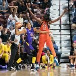 Los Angeles Sparks forward Candace Parker (3) makes a pass around Connecticut Sun center Jonquel Jones (35) during the WNBA Semi-Finals between the Los Angeles Sparks and the Connecticut Sun at Mohegan Sun Arena, Uncasville, Connecticut, USA on September 19, 2019. Photo Credit: Chris Poss